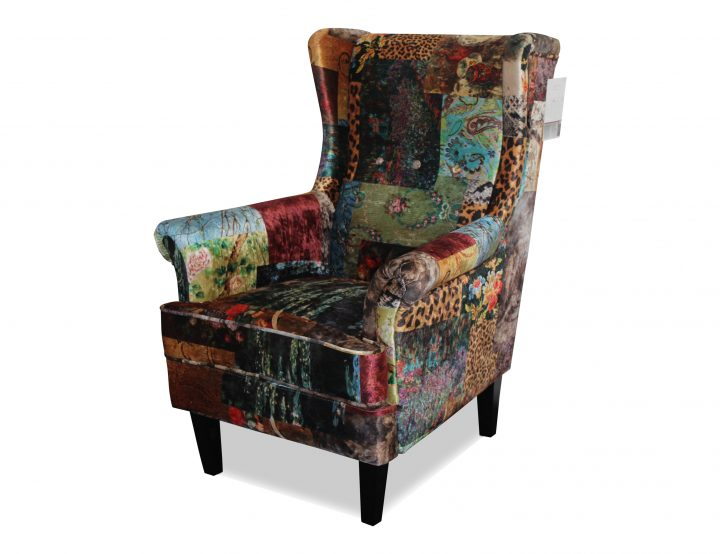 Austin Wingback Chair Upholstered In Digital Print