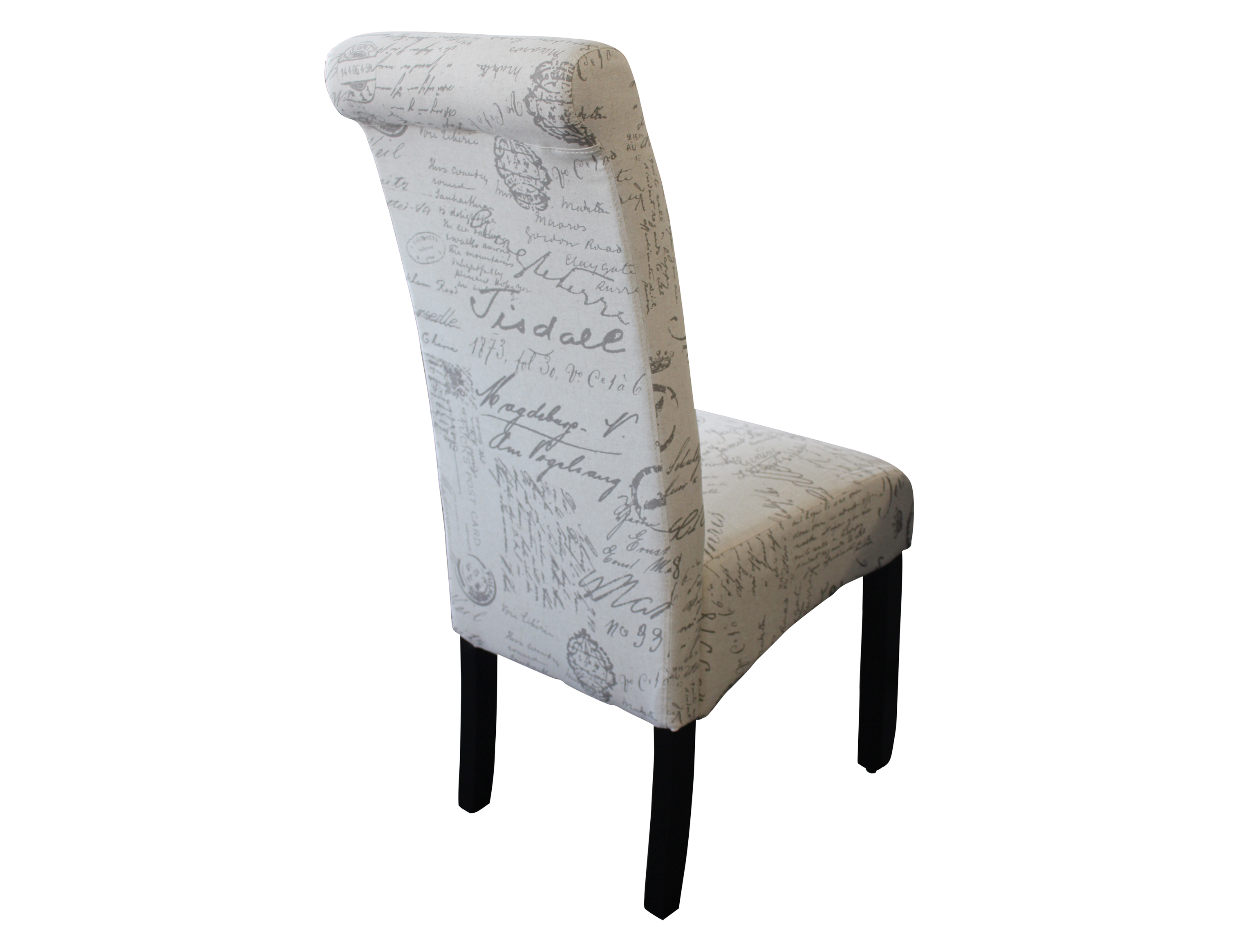 Avalon dining chair Blonde script fabric L0007 3 – Berton