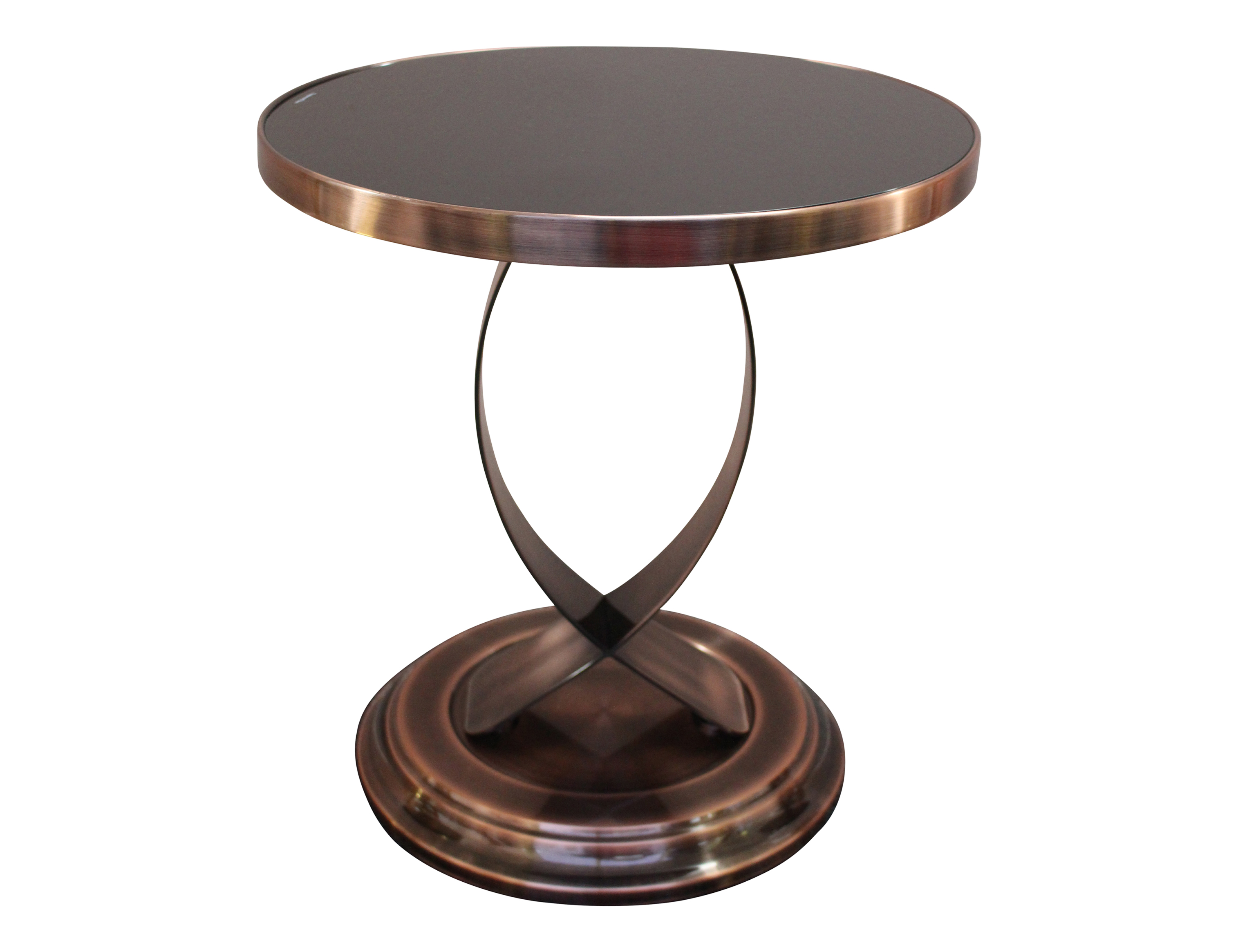 Bradford Side Table Copper Base With Black Top Berton