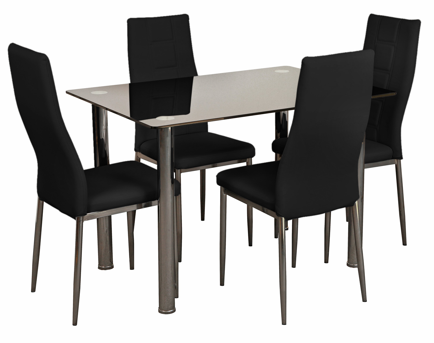 Narellan 5 pce dining black glass 100 x 100 table black for Black glass dining table
