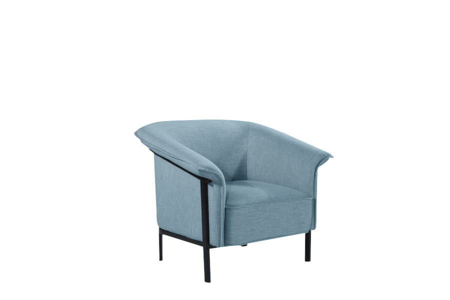 Cadence Accent Chair Black Metal Frame Blue Jeans
