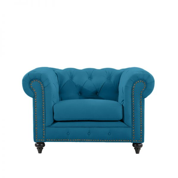 Chesterfield by Berton Furniture Arm Chair Turquoise Velvet