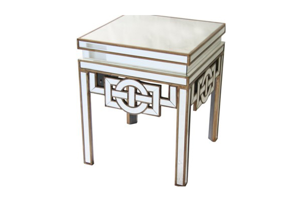 Forum Side Table Rose Gold Clear Berton Furniture
