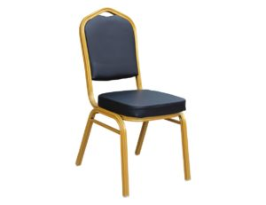 Banquet Chair Gold Black PVC (6)