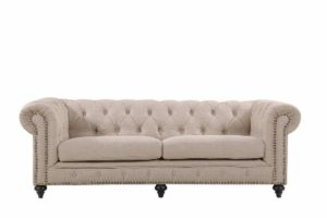 Chesterfield by Berton Furniture 3 seater Linen