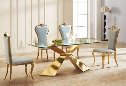Versailles Dining Table Gold Base With Clear Glass Top Berton