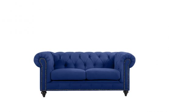Chesterfield by Berton Furniture 2 seater Navy velvet