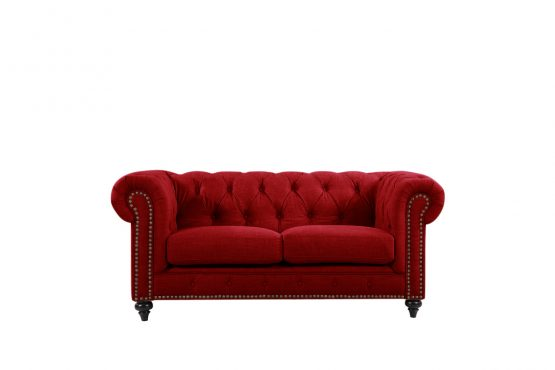 Chesterfield by Berton Furniture 2 seater Linen_Red velvet - Copy